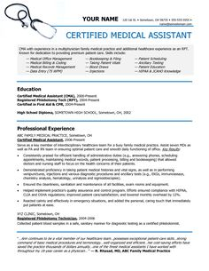 Certified Medical Assistant Resume Pinalyssa Nix On Certification  Pinterest  1""