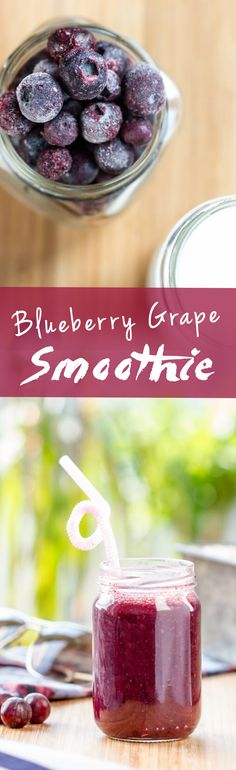 Supertasty Easy Blueberry Grape Smoothie! | www.haveanotherbite.com | #smoothie…