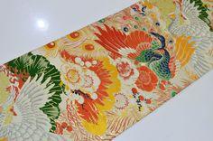 VINTAGE SILK MARU OBI BELT:Peacock / Chinese Phoenix / Plum Blossom@h54