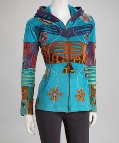 Turquoise Flower Zip-Up Hoodie - Plus by Rising International #zulily #zulilyfinds