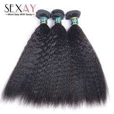 Brasil Perawan Rambut Keriting Lurus Menenun Rambut Manusia Bundel 3 Pcs 8A Kelas Yaki Rambut Kasar Italia Yaki Lurus Perawan rambut