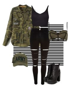 A fashion look from September 2015 featuring cut-out crop tops, camoflauge jacket and River Island. Browse and shop related looks. Camoflauge Jacket, Army Style, River Island, Boohoo, Polyvore Fashion, Fashion Looks, Crop Tops, Clothing, Jackets