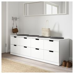 IKEA - NORDLI, dresser, white, anthracite, You can use one modular chest of drawers or combine several to get a storage solution that perfectly suits your space. You can easily create your own personal design by mixing chests of different colors. At Home Furniture Store, Modern Home Furniture, Office Furniture, Small Drawers, Chest Of Drawers, Nordli Ikea, 8 Drawer Dresser, Dresser Storage, Painted Drawers