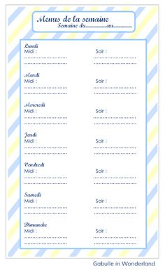 Gabulle in wonderland: Planning pour les menus de la semaine à imprimer Journal Organization, Diy Organisation, Menu Planning, Getting Organized, Planner Stickers, Bujo, Vocabulary, Budgeting, Nutrition