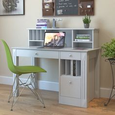 Jaynes Wooden Computer Desk with Hutch