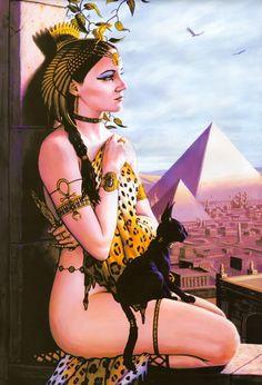 Ancient Egyptian Cat Goddess Bast (et). Egyptian Cat Goddess, Egyptian Cats, Egyptian Queen, Egyptian Mythology, Deviant Art, Bastet, Sacred Feminine, Devine Feminine, Vampire