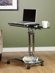 Calico Designs 51200 chrome and black laptop cart and mobile computer stand. Enjoy this versatile computer desk for small office and limited space applications. Laptop Storage, Laptop Desk, Laptop Stand, Laptop Table, Computer Cart, Computer Desks, Laptop Screen Repair, Writers Desk, Desk Layout