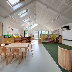 Great daylighting, views into nature, little lawn area for bare-foot learning, warm natural wood furniture, good ventilation