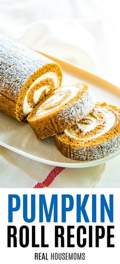 This Classic Pumpkin Roll is delicious impressive easy and certainly a must for the holidays but perfect for all year around! This Classic Pumpkin Roll is delicious impressive easy and certainly a must for the holidays but perfect for all year around! Single Serve Desserts, Desserts For A Crowd, Party Desserts, Just Desserts, Delicious Desserts, Pumpkin Roll Cake, Pumpkin Dessert, Cheese Pumpkin, Pumpkin Rolls