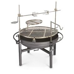 Cowboy Fire Pit Rotisserie / Grill by kirsten Cowboy Grill, Cowboy Fire Pit, Fire Pit Grill, Fire Pit Backyard, Bbq Grill, Fire Pits, Fire Cooking, Cast Iron Cooking, Outdoor Cooking