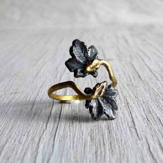 Double Snake Ring Ouroboros Adjustable Onyx Silver by AustinModern