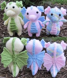 Crochet Stuffed Dolls Ravelry: Mini Baby Dragon pattern by Ashley Collings. Look at their little wings! - EDIT: Make some corrections and added some links of tutorials of techniques that I used on this pattern. Hope it is helpful! Diy Tricot Crochet, Crochet Motifs, Knit Or Crochet, Crochet Crafts, Crochet Dolls, Yarn Crafts, Crochet Baby, Crochet Patterns, Crochet Dragon Pattern