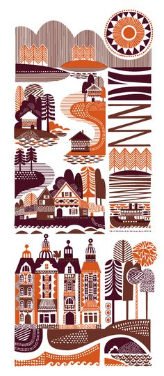 Use of patterns and simple color palette in illustrations