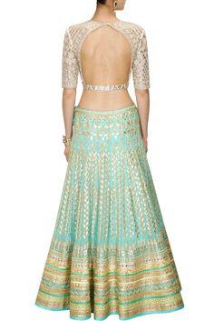 Aqua color Bridal Lehenga with white Choli