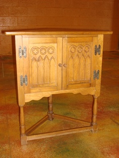 French Antique Gothic Corner Cabinet Cupboard Stand