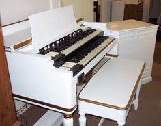 Vintage Hammond Church Organs - White Hammond B3 w/ Matching Leslie 145