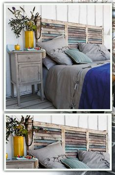 Bedroom: Rustic Bedroom Design With Unique Homemade Headboards Plus Nightstand And Wooden Floor Headboard Designs, Shabby Chic Headboard, Headboards For Beds, Bedroom Design, Home Decor, Bedroom Inspirations, Old Shutters, Shabby Chic Bedrooms, Headboard