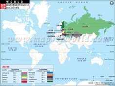 #World #Map showing top ten countries with highest #suicide rates in the World.