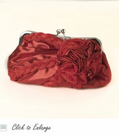 Red Braided Ruffle Floral Evening Bag