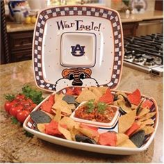 Auburn Tigers Ceramic Chip and Dip Sqaure Tray
