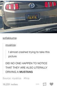 FMA tumblr -- I WANT THAT CAR, OR AT LEAST THE LICENSE PLATE AND A NICE MUSTANG - Angel
