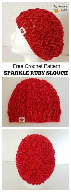 Sparkle Ruby Hat - Free Crochet Pattern on myhobbyiscrochet.com #crochethat #freecrochetpattern