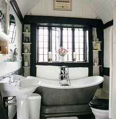 Another black and white vintage bathroom.....One day!!!