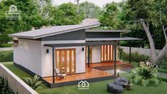 Modern, Villa-Style Single Storey House With Two Bedrooms - Ulric Home Two Bedroom House Design, Modern Small House Design, Simple House Design, Single Storey House Plans, One Storey House, Small House Plans, Hut House, Tiny House Cabin, Asian House