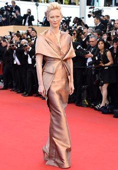 Tilda Swinton Red carpet risk-taker Swinton wore a bronze Haider Ackermann gown to the the Moonrise Kingdom premiere May 16.