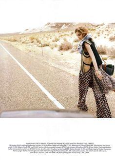 Boho Hitch-Hiking Styles - Kim Noorda in 'On the Road' for Harper's Bazaar June 20 (GALLERY)