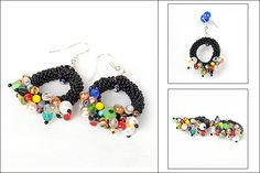 Bead crochet rope hoop earrings  #beadwork #jewelry