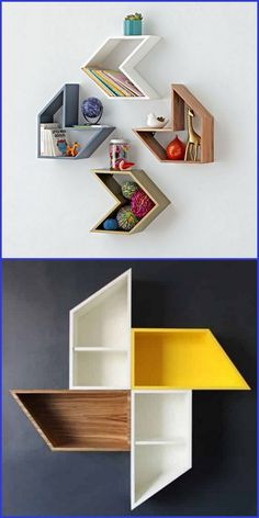 Dekorative Wandregale Decorative wall shelves are the fastest and easiest way to store and decorate items using wall shelves, wire shelves, floating shelves Home Theater Furniture, Bedroom Furniture Design, Home Decor Furniture, Diy Home Decor, Room Decor, Furniture Ideas, Wall Bookshelves, Bookshelf Design, Wall Shelves Design