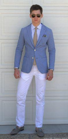 baby blue jacket white pants mens style