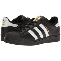 adidas Originals Superstar (Core Black/Footwear White/Gold Metallic)... ($120) ❤ liked on Polyvore featuring shoes, sneakers, white tennis shoes, metallic gold shoes, black lace up shoes, black laced shoes and adidas originals shoes