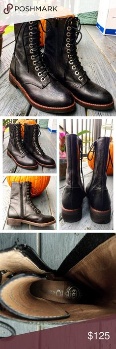 ✨Dark/Soft Leather Boots✨ Black boots in soft black leather Ghillie style and easy entry with zipper✨Never used beforeSize 7 Shoes