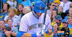 4/20/18, Milwaukee vs. Miami Baseball Gear, Sports Baseball, Baseball Cards, Mlb Players, Baseball Players, Bae, Christian Yelich, Blue Crew, Milwaukee Brewers