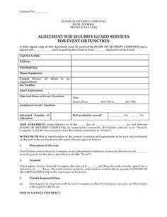 Security Guard Contract Template Inspirational Usa Security Guard Agreement for event or Function Security Guard Services, Security Companies, Security Service, Contract Agreement, Sales Strategy Template, Workers Compensation Insurance, Preschool Newsletter Templates
