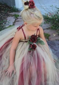 Spun gold & wine tutu dress with rose.