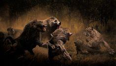 Средний плейстоцен Африки: гигантские павианы Theropithecus oswaldi и саблезубая кошка из рода Dinofelis.