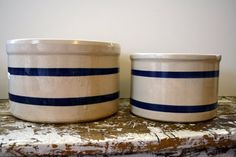 Roseville Crocks Stoneware Crock Blue by VintageShoppingSpree, $40.00
