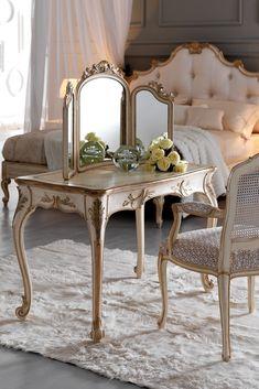 Small Ornate Italian Designer Dressing Table Set