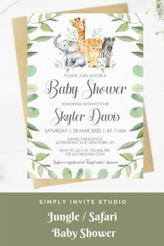 This Safari/Jungle Animal Baby Shower Invitation is perfect for either a little boy or girls' baby shower. This easy to edit baby shower template can be combined with a matching books for baby card, diaper raffle card and thank you card. It will be a great addition to your Safari/Jungle Theme baby shower. Baby Shower Templates, Baby Shower Invitation Templates, Diy Invitations, Invite, Safari Theme, Jungle Theme, Baby Boy Or Girl, Diaper Raffle, Jungle Animals