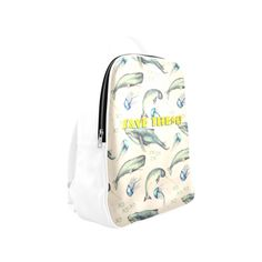 PiccoGrande`s Save the Ocean blue-black-whales-yellow Popular Backpack (Model Popular Backpacks, Mouth Mask Fashion, Cute Photos, Whales, Jellyfish, Dog Friends, Dog Mom, Octopus, Dolphins