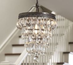 LOVE THIS FOR THE ENTRY!!—Clarissa Glass Drop Small Chandelier | Pottery Barn - chandeliers - bburgis