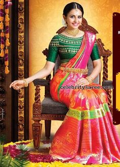 South Indian actress Rakul Preet singh in Pink and parrot green combination kanjeevaram silk saree by RS Brothers Saree Blouse Designs, Blouse Patterns, Indian Women Painting, Saree Look, Latest Sarees, Soft Silk Sarees, Varanasi, Half Saree, India Fashion