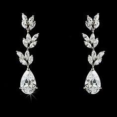 Elegant Flower Cubic Zirconium Crystal Earring E 8170
