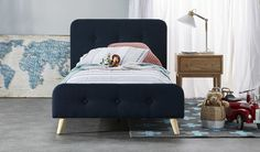 The Coby queen size fabric bed is a stunning deep teal coloured bed with some minimal tufted upholstery which compliments this simple scandi design Linen Bedding, Bedding Sets, Bed Linens, Comforter, King Single Bed, Diy Bett, Black Bed Linen, Bed Linen Design, Simple Bed