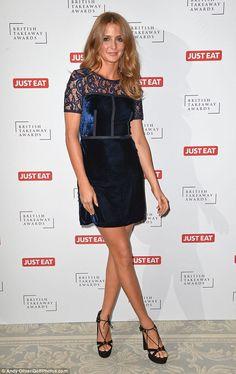 The former Made In Chelsea star put her long legs in the spotlight on Monday evening for the British Takeaway Awards, held at London's Savoy Hotel. Velvet Midi Dress, Blue Velvet Dress, Millie Mackintosh, Made In Chelsea, Lbd, Put On, Awards, British, Husband