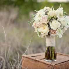 The bouquets will be pink spray roses, white heather, ivory garden roses, gray dusty miller green seeded euchalyptus, and white anemones wrapped in champagne ribbon.  The bridal bouquet will have a brooch accent.