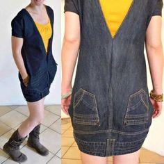 De pantalón a vestido. #Reutilizar #Denim